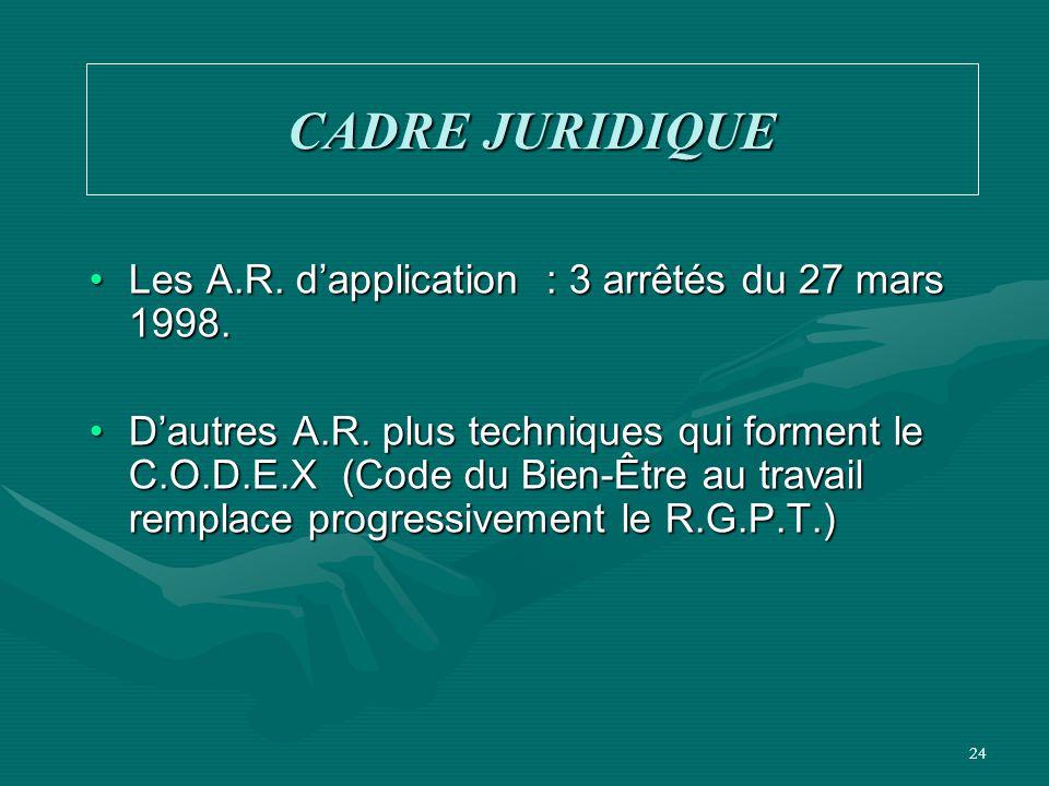 24 CADRE JURIDIQUE Les A.R. d'application : 3 arrêtés du 27 mars 1998.Les A.R. d'application : 3 arrêtés du 27 mars 1998. D'autres A.R. plus technique