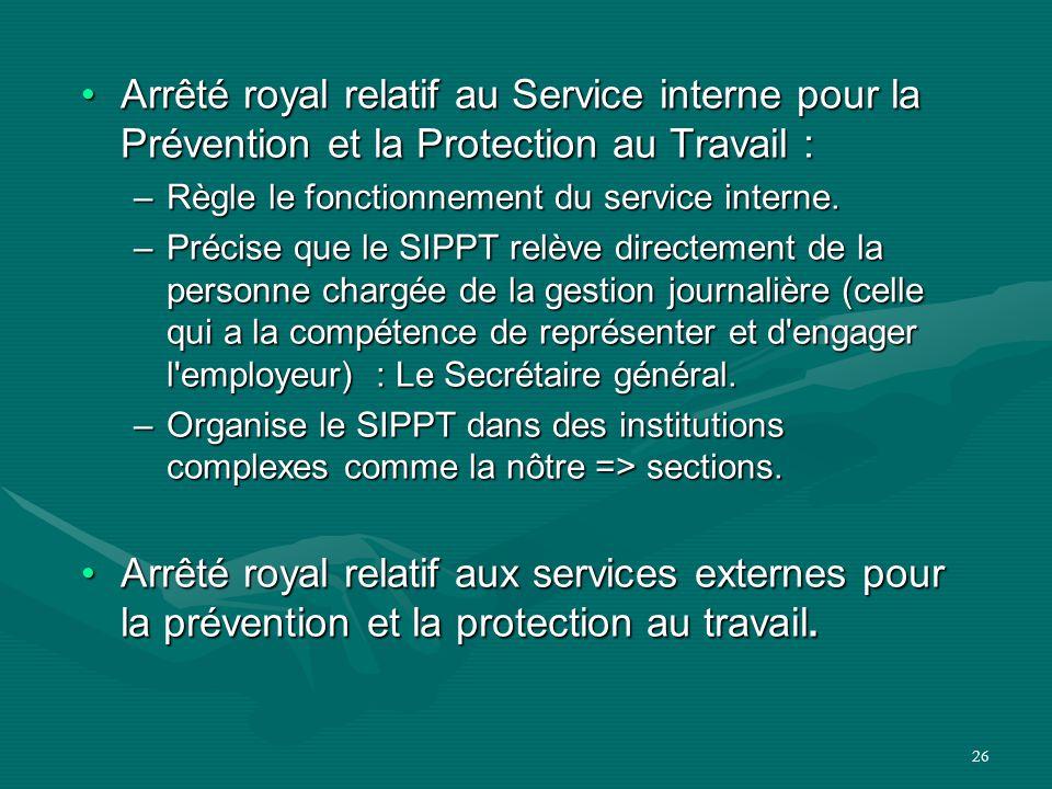 26 Arrêté royal relatif au Service interne pour la Prévention et la Protection au Travail :Arrêté royal relatif au Service interne pour la Prévention