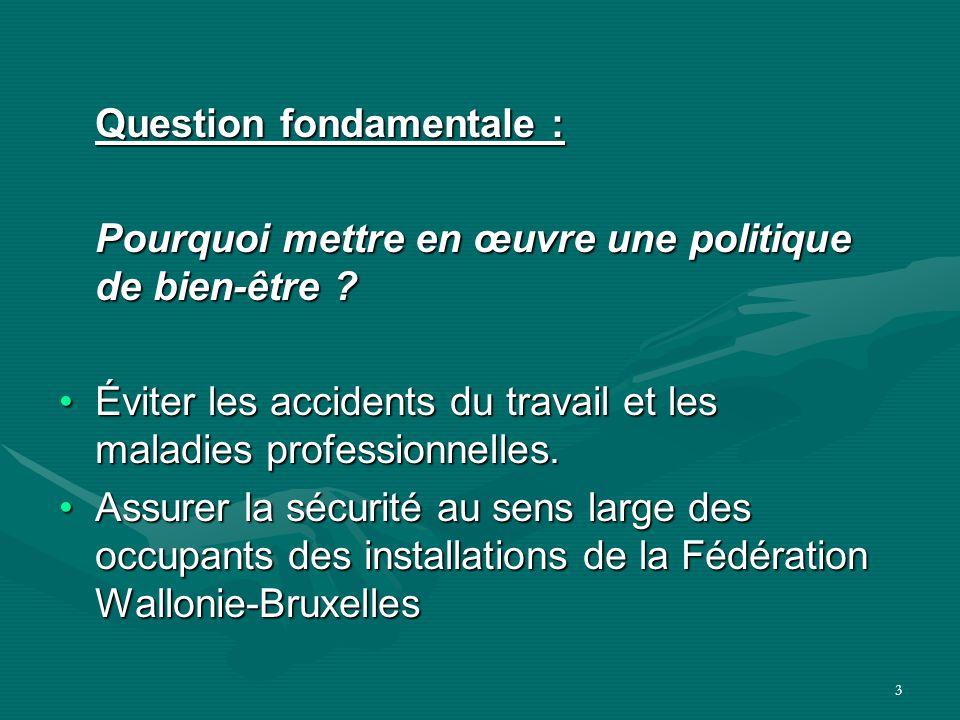 3 Question fondamentale : Pourquoi mettre en œuvre une politique de bien-être ? Éviter les accidents du travail et les maladies professionnelles. Assu