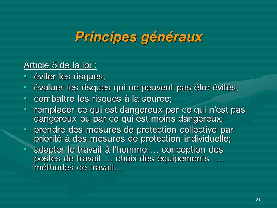 31 Principes généraux Article 5 de la loi : éviter les risques;éviter les risques; évaluer les risques qui ne peuvent pas être évités;évaluer les risq