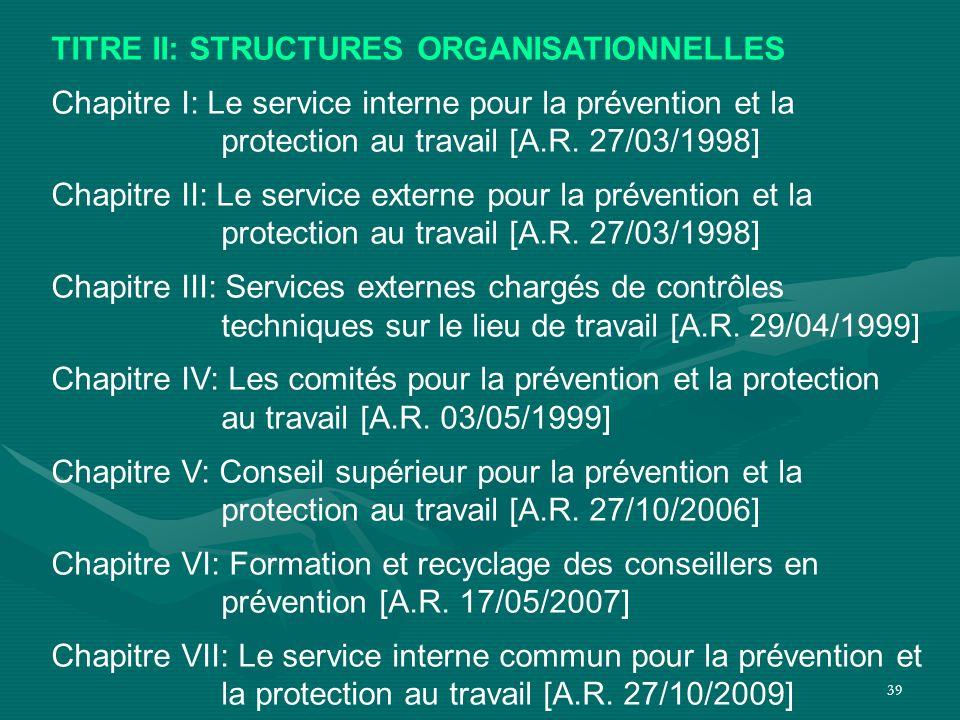 39 TITRE II: STRUCTURES ORGANISATIONNELLES Chapitre I: Le service interne pour la prévention et la protection au travail [A.R. 27/03/1998] Chapitre II