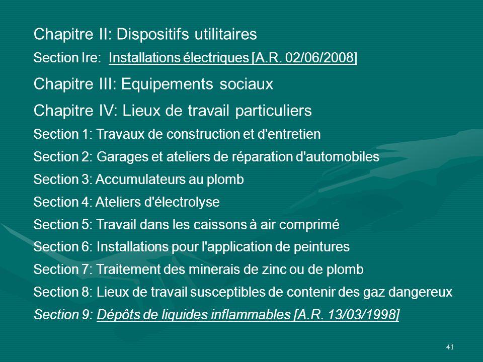 41 Chapitre II: Dispositifs utilitaires Section Ire: Installations électriques [A.R. 02/06/2008] Chapitre III: Equipements sociaux Chapitre IV: Lieux