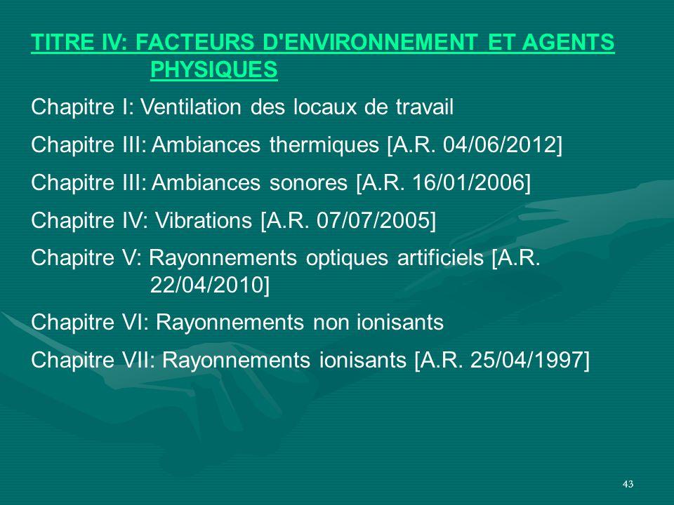43 TITRE IV: FACTEURS D'ENVIRONNEMENT ET AGENTS PHYSIQUES Chapitre I: Ventilation des locaux de travail Chapitre III: Ambiances thermiques [A.R. 04/06