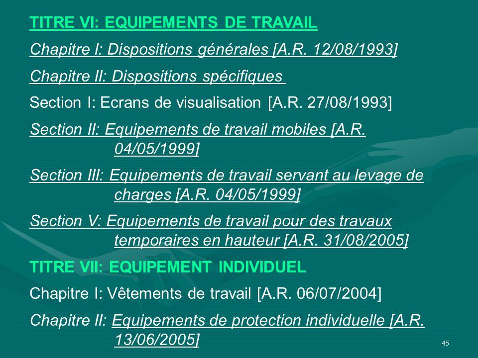 45 TITRE VI: EQUIPEMENTS DE TRAVAIL Chapitre I: Dispositions générales [A.R. 12/08/1993] Chapitre II: Dispositions spécifiques Section I: Ecrans de vi