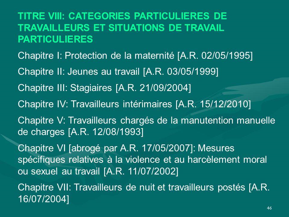 46 TITRE VIII: CATEGORIES PARTICULIERES DE TRAVAILLEURS ET SITUATIONS DE TRAVAIL PARTICULIERES Chapitre I: Protection de la maternité [A.R. 02/05/1995