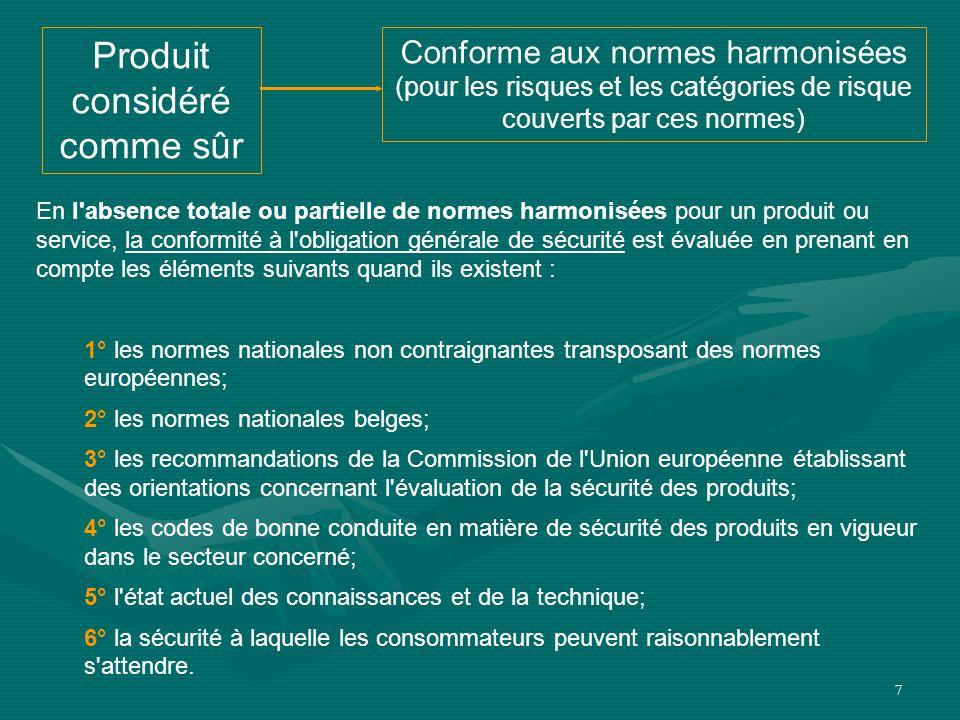 7 Produit considéré comme sûr Conforme aux normes harmonisées (pour les risques et les catégories de risque couverts par ces normes) En l'absence tota