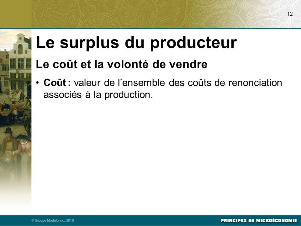 Le coût et la volonté de vendre Coût : valeur de l'ensemble des coûts de renonciation associés à la production. 12 Le surplus du producteur