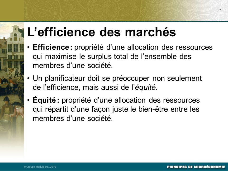 Efficience : propriété d'une allocation des ressources qui maximise le surplus total de l'ensemble des membres d'une société. Un planificateur doit se