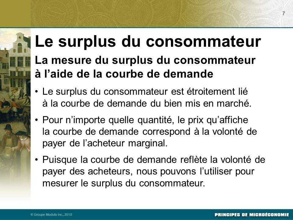 La mesure du surplus du consommateur à l'aide de la courbe de demande Le surplus du consommateur est étroitement lié à la courbe de demande du bien mi