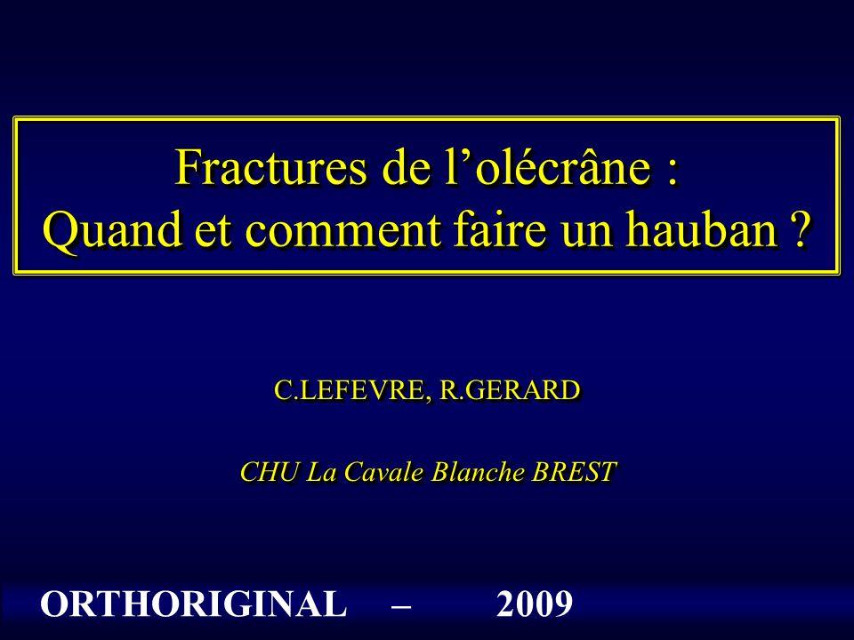 Fractures de l'olécrâne : Quand et comment faire un hauban ? C.LEFEVRE, R.GERARD CHU La Cavale Blanche BREST C.LEFEVRE, R.GERARD CHU La Cavale Blanche