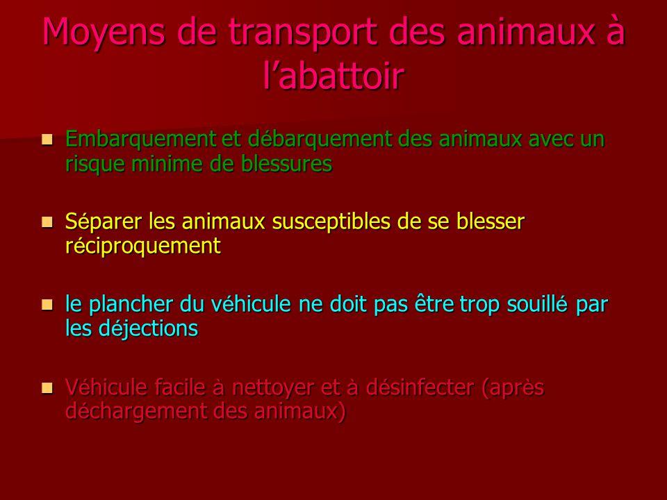 Moyens de transport des animaux à l'abattoir Embarquement et d é barquement des animaux avec un risque minime de blessures Embarquement et d é barquem