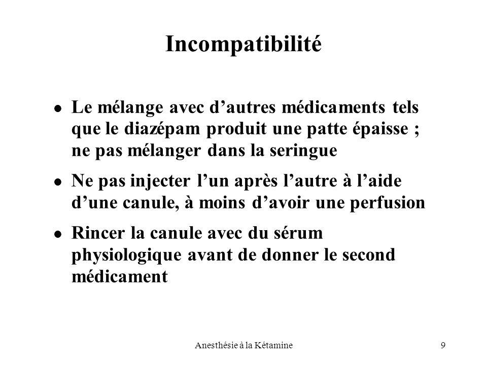 9Anesthésie à la Kétamine Incompatibilité Le mélange avec d'autres médicaments tels que le diazépam produit une patte épaisse ; ne pas mélanger dans l