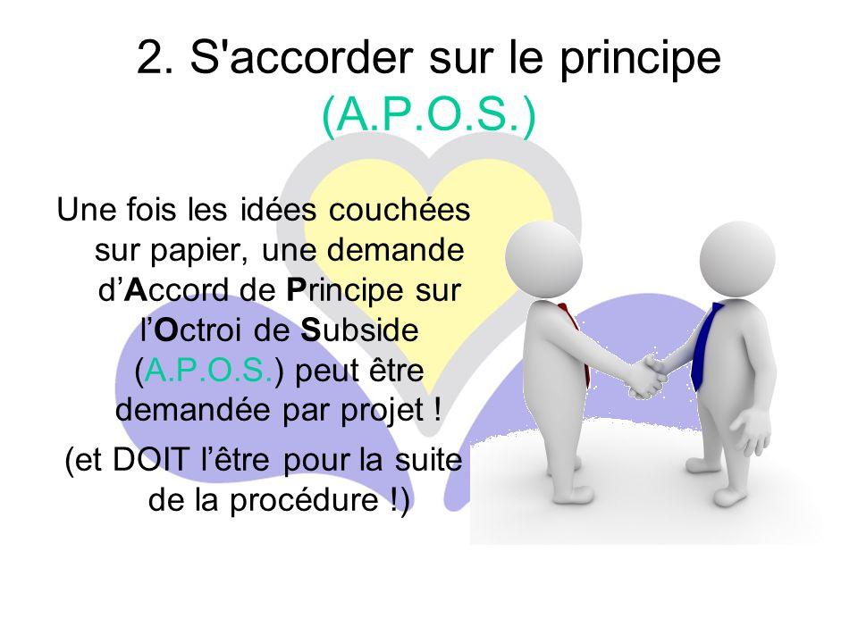2. S'accorder sur le principe (A.P.O.S.) Une fois les idées couchées sur papier, une demande d'Accord de Principe sur l'Octroi de Subside (A.P.O.S.) p