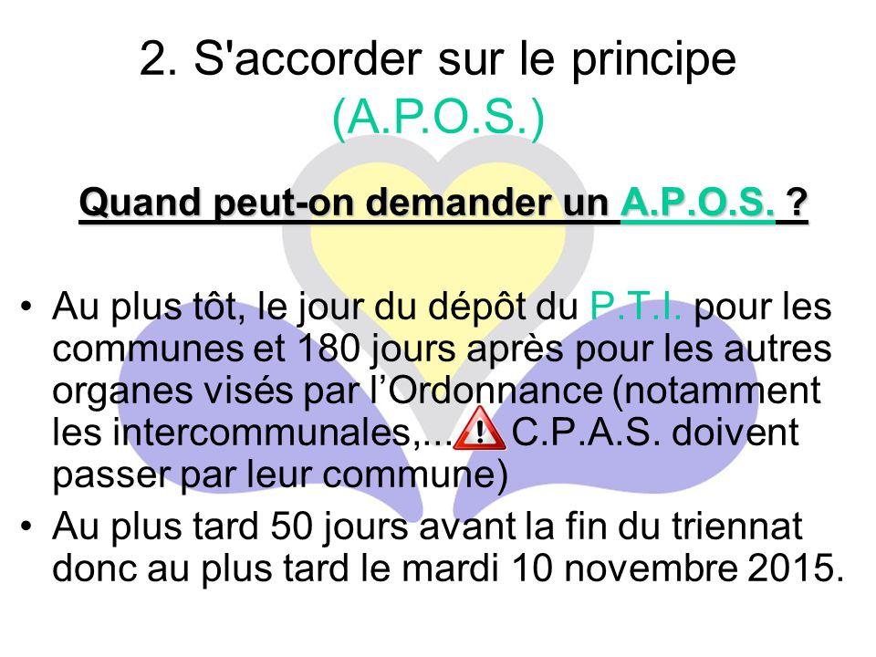 Quand peut-on demander un A.P.O.S. ? Au plus tôt, le jour du dépôt du P.T.I. pour les communes et 180 jours après pour les autres organes visés par l'