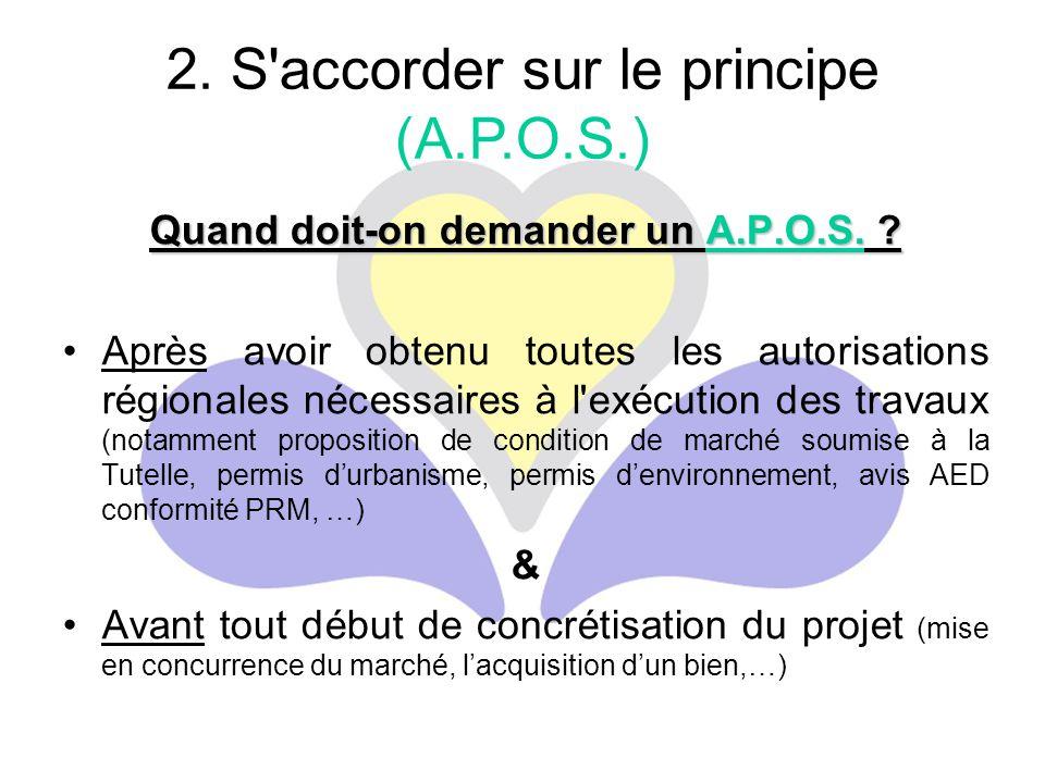 Quand doit-on demander un A.P.O.S. ? Après avoir obtenu toutes les autorisations régionales nécessaires à l'exécution des travaux (notamment propositi