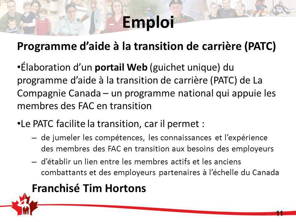 Emploi 11 Programme d'aide à la transition de carrière (PATC) Élaboration d'un portail Web (guichet unique) du programme d'aide à la transition de car