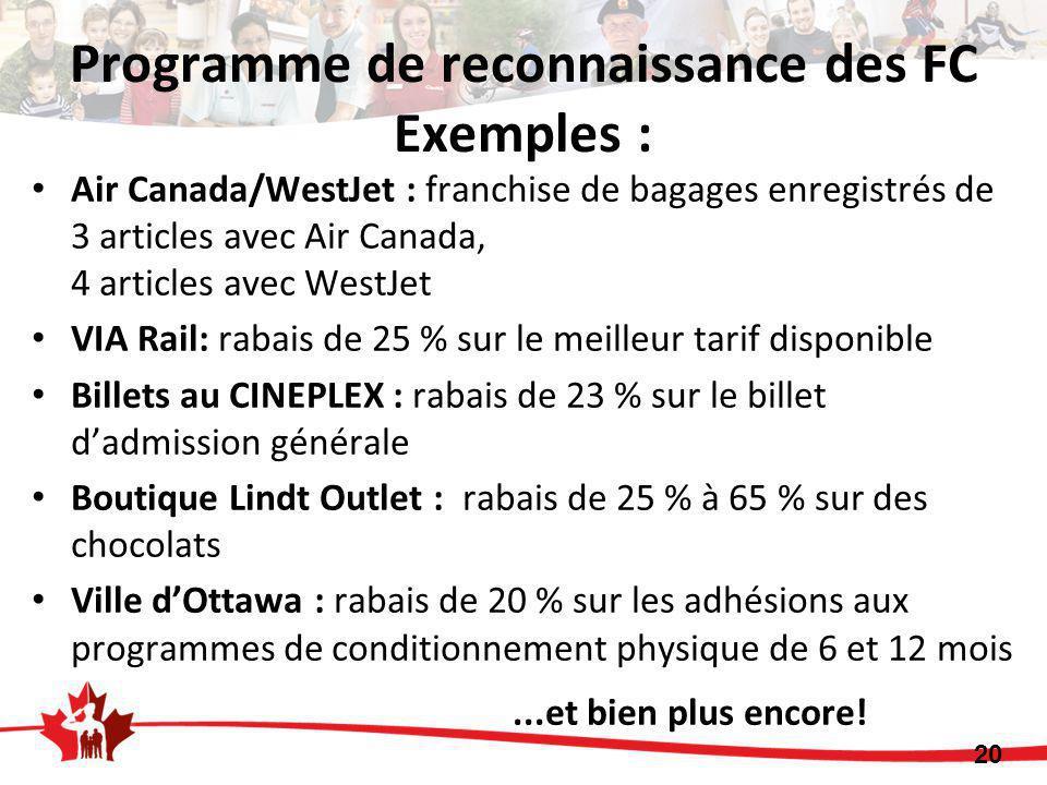 Programme de reconnaissance des FC Exemples : Air Canada/WestJet : franchise de bagages enregistrés de 3 articles avec Air Canada, 4 articles avec WestJet VIA Rail: rabais de 25 % sur le meilleur tarif disponible Billets au CINEPLEX : rabais de 23 % sur le billet d'admission générale Boutique Lindt Outlet : rabais de 25 % à 65 % sur des chocolats Ville d'Ottawa : rabais de 20 % sur les adhésions aux programmes de conditionnement physique de 6 et 12 mois...et bien plus encore.