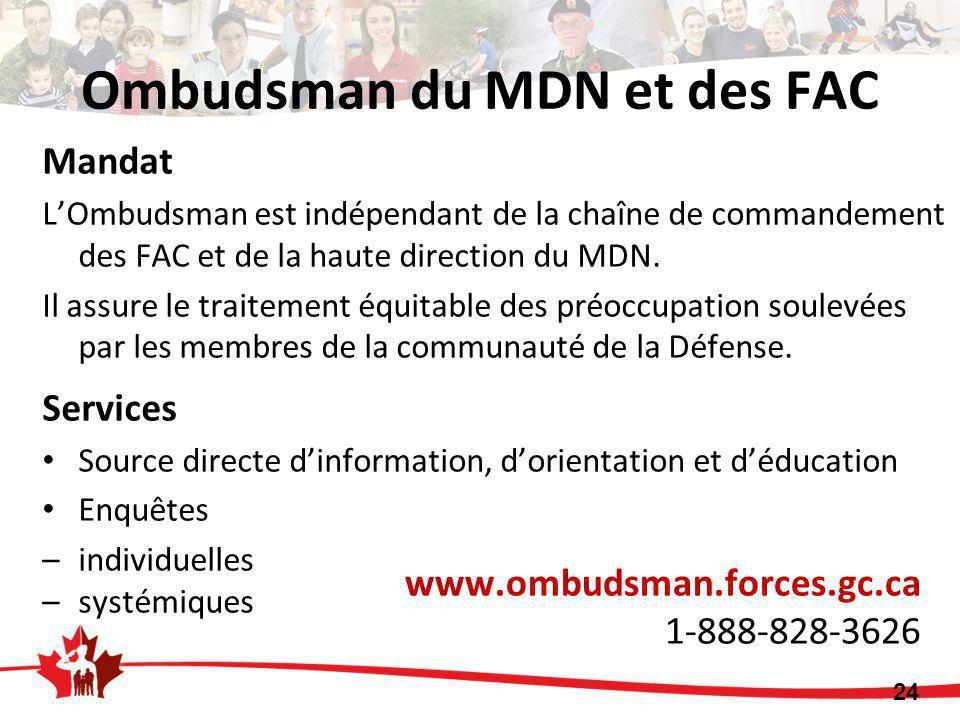 Ombudsman du MDN et des FAC Mandat L'Ombudsman est indépendant de la chaîne de commandement des FAC et de la haute direction du MDN. Il assure le trai