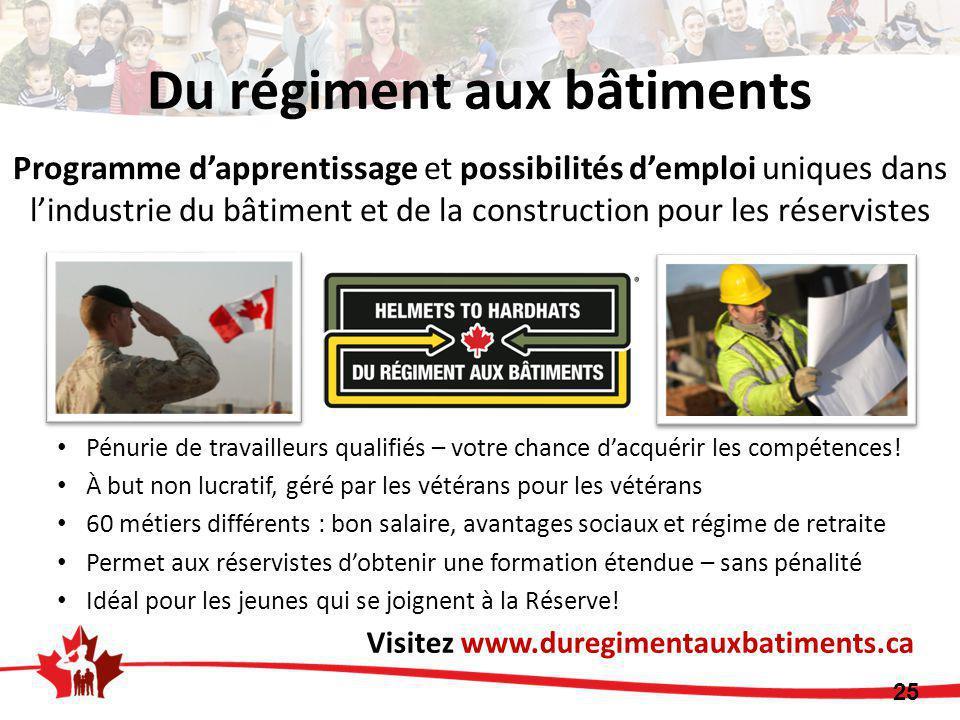 Du régiment aux bâtiments 25 Visitez www.duregimentauxbatiments.ca Pénurie de travailleurs qualifiés – votre chance d'acquérir les compétences! À but