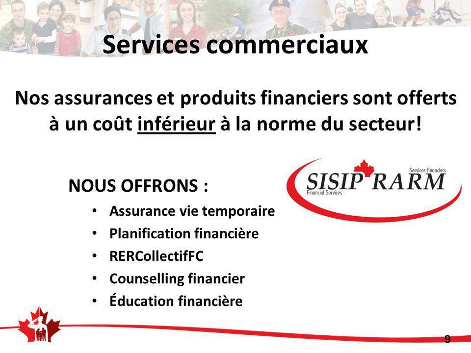 9 Services commerciaux NOUS OFFRONS : Assurance vie temporaire Planification financière RERCollectifFC Counselling financier Éducation financière Nos assurances et produits financiers sont offerts à un coût inférieur à la norme du secteur!