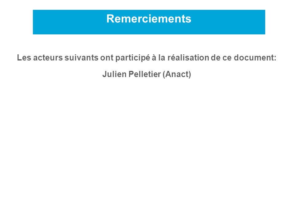 Remerciements 2 Les acteurs suivants ont participé à la réalisation de ce document: Julien Pelletier (Anact)