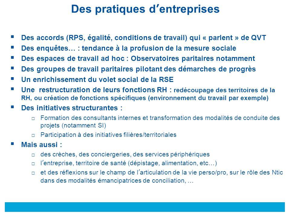 © Des pratiques d'entreprises  Des accords (RPS, égalité, conditions de travail) qui « parlent » de QVT  Des enquêtes… : tendance à la profusion de