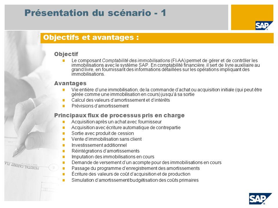 Présentation du scénario - 1 Objectif Le composant Comptabilité des immobilisations (FI-AA) permet de gérer et de contrôler les immobilisations avec le système SAP.