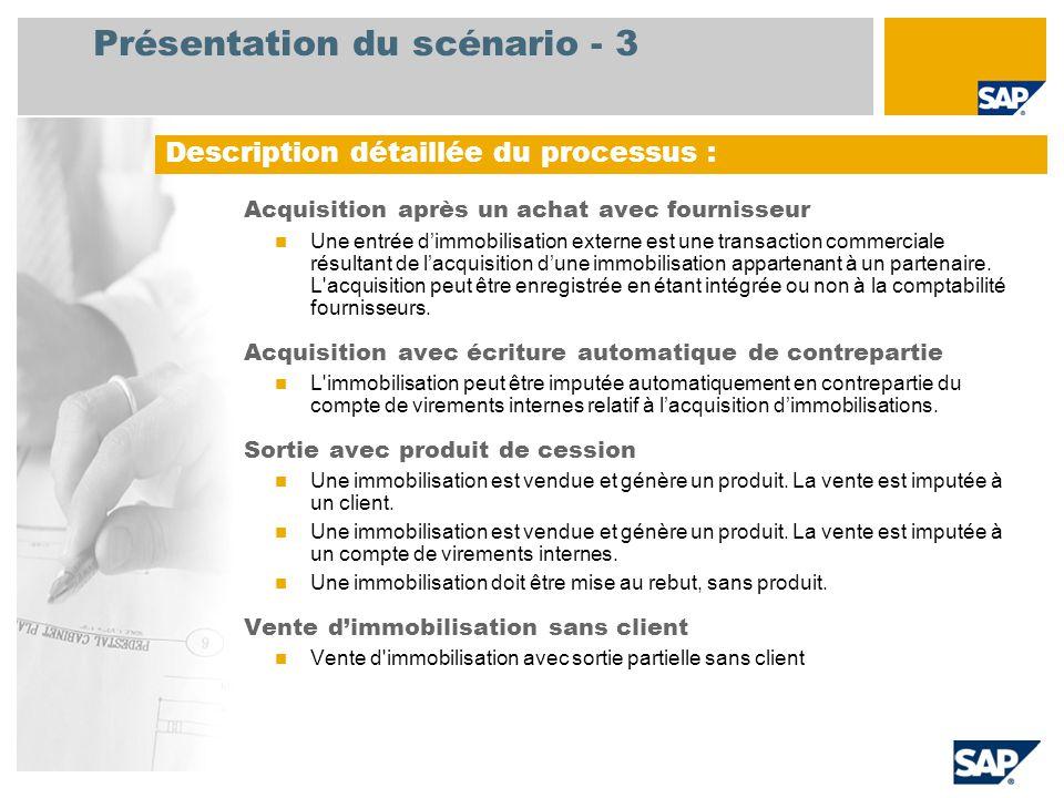 Présentation du scénario - 3 Acquisition après un achat avec fournisseur Une entrée d'immobilisation externe est une transaction commerciale résultant de l'acquisition d'une immobilisation appartenant à un partenaire.