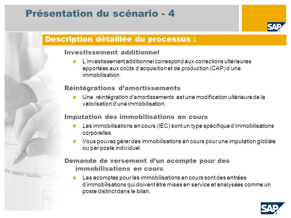 Présentation du scénario - 4 Investissement additionnel L'investissement additionnel correspond aux corrections ultérieures apportées aux coûts d'acquisition et de production (CAP) d'une immobilisation.