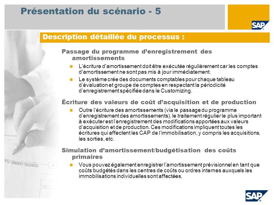 Présentation du scénario - 5 Passage du programme d'enregistrement des amortissements L écriture d amortissement doit être exécutée régulièrement car les comptes d amortissement ne sont pas mis à jour immédiatement.
