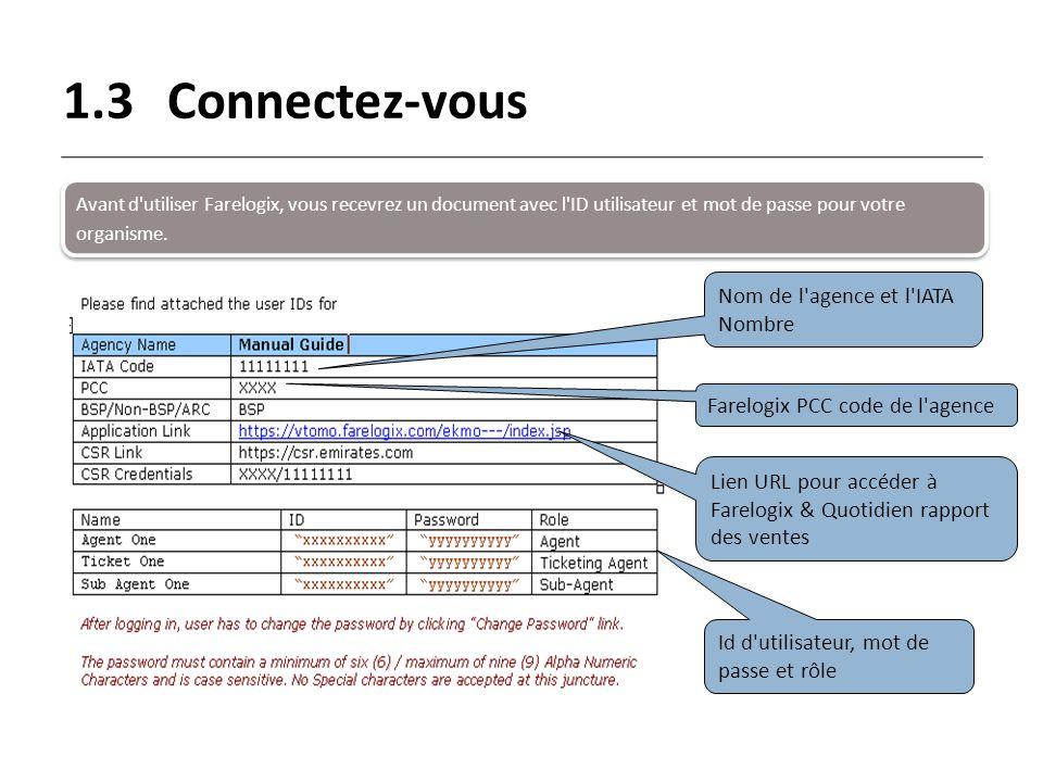 1.3Connectez-vous Avant d'utiliser Farelogix, vous recevrez un document avec l'ID utilisateur et mot de passe pour votre organisme. Nom de l'agence et