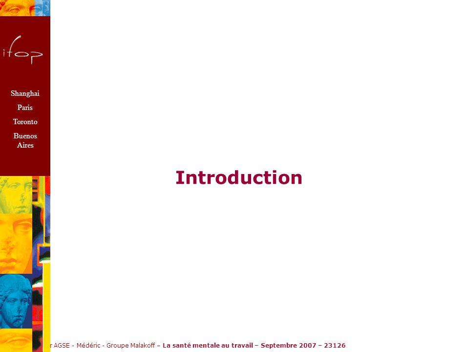 Ifop pour AGSE - Médéric - Groupe Malakoff – La santé mentale au travail – Septembre 2007 – 23126 Introduction Shanghai Paris Toronto Buenos Aires