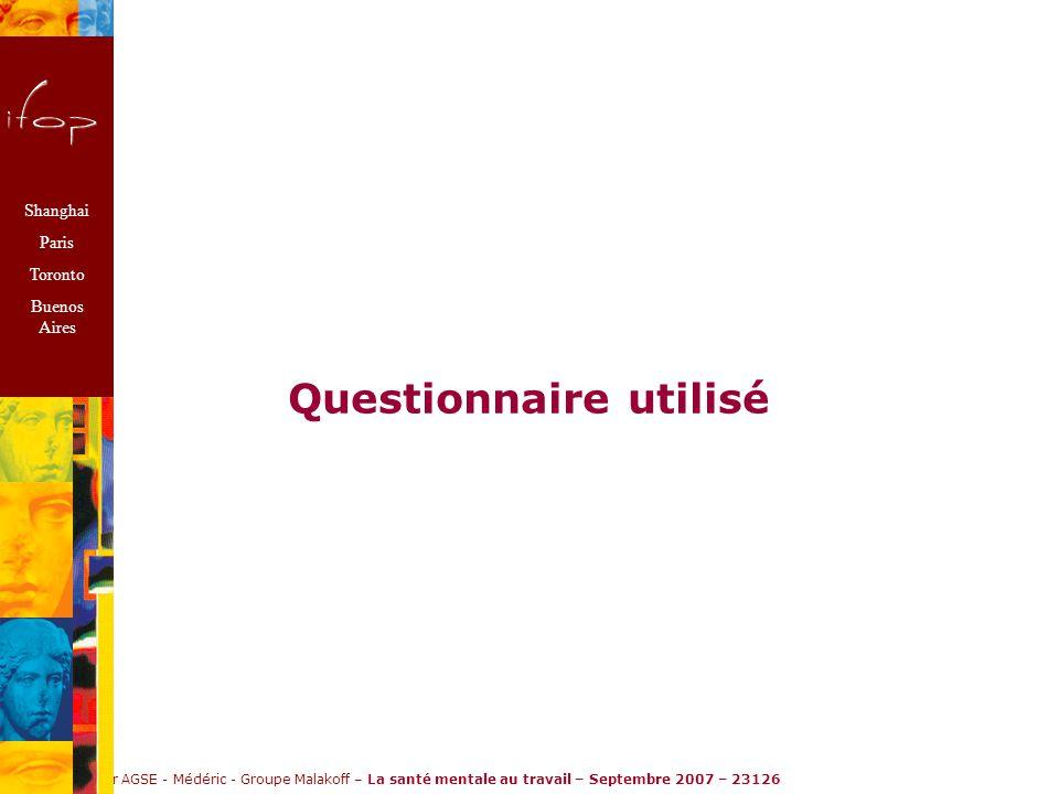 Ifop pour AGSE - Médéric - Groupe Malakoff – La santé mentale au travail – Septembre 2007 – 23126 Questionnaire utilisé Shanghai Paris Toronto Buenos Aires