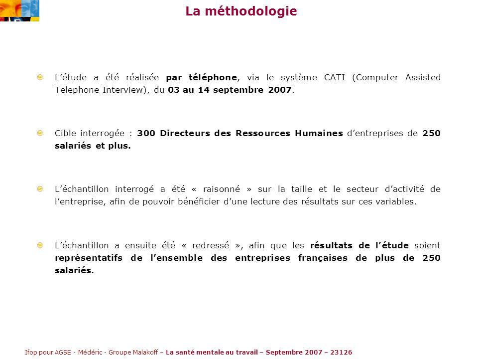 Ifop pour AGSE - Médéric - Groupe Malakoff – La santé mentale au travail – Septembre 2007 – 23126 La méthodologie L'étude a été réalisée par téléphone, via le système CATI (Computer Assisted Telephone Interview), du 03 au 14 septembre 2007.