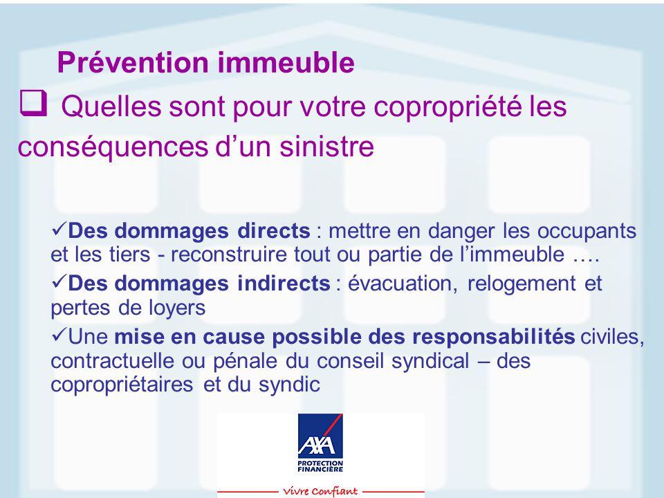 Prévention immeuble  Quelles sont pour votre copropriété les conséquences d'un sinistre Des dommages directs : mettre en danger les occupants et les tiers - reconstruire tout ou partie de l'immeuble ….
