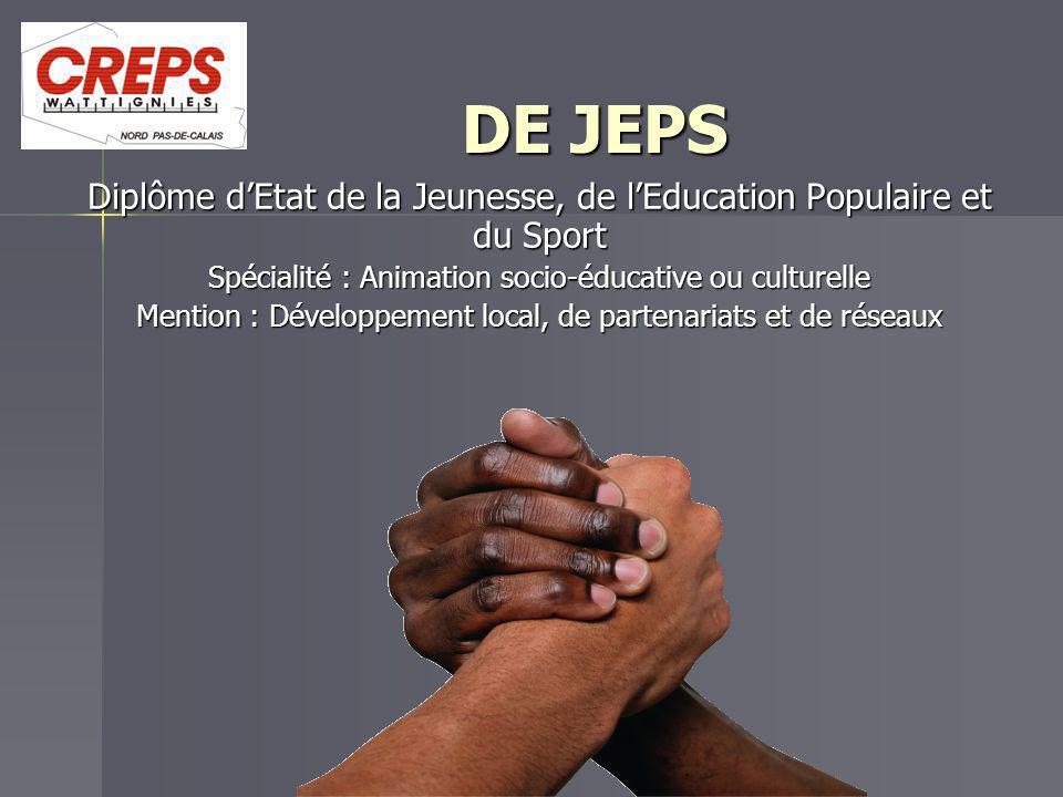 DE JEPS DE JEPS Diplôme d'Etat de la Jeunesse, de l'Education Populaire et du Sport Spécialité : Animation socio-éducative ou culturelle Mention : Dév