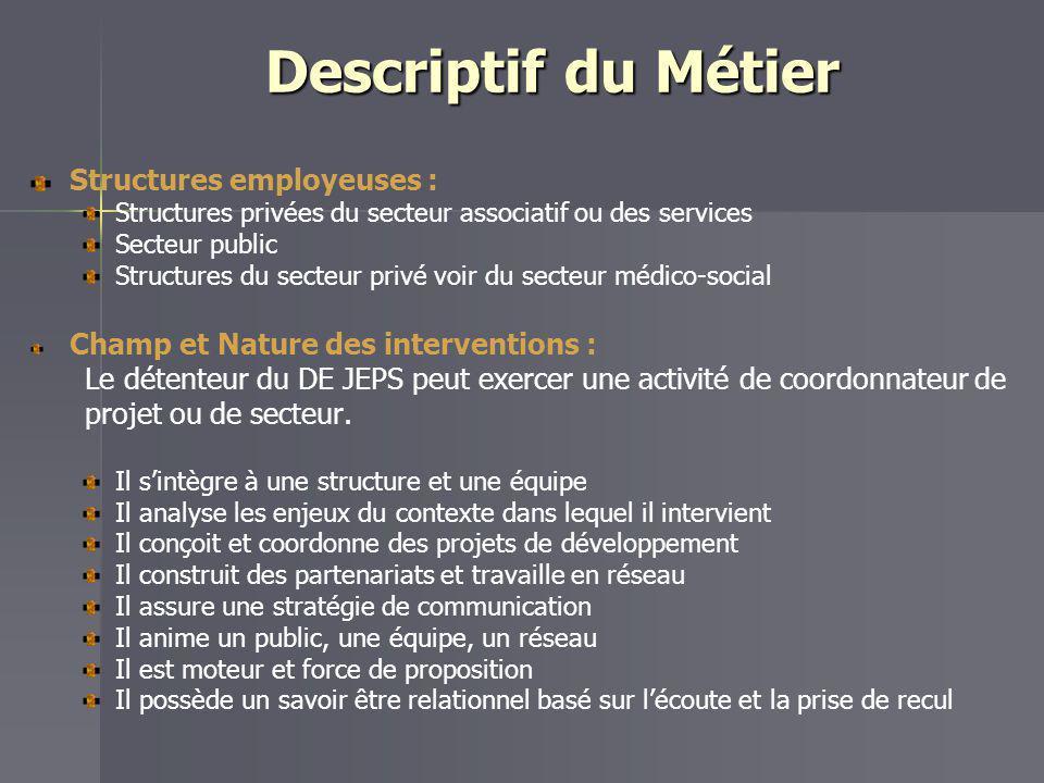 Descriptif du Métier Structures employeuses : Structures privées du secteur associatif ou des services Secteur public Structures du secteur privé voir