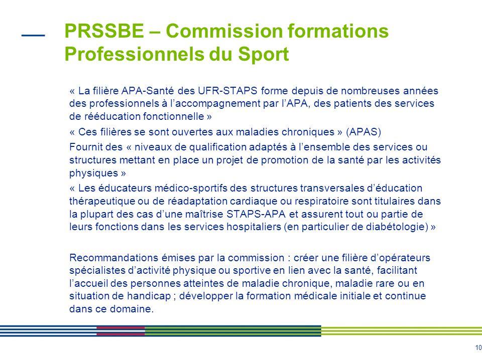 10 PRSSBE – Commission formations Professionnels du Sport « La filière APA-Santé des UFR-STAPS forme depuis de nombreuses années des professionnels à