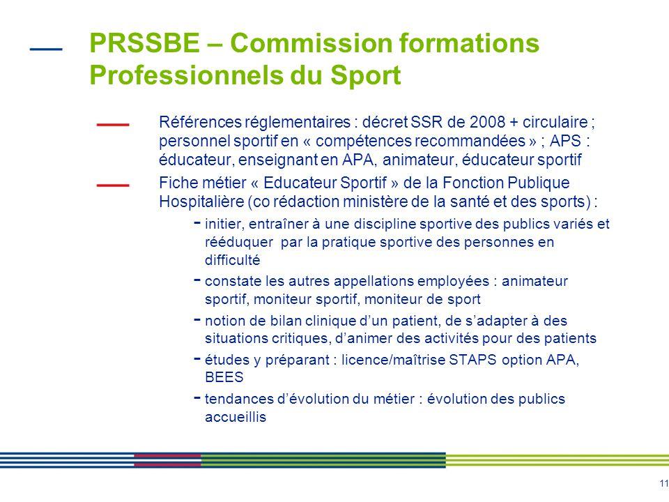 11 PRSSBE – Commission formations Professionnels du Sport Références réglementaires : décret SSR de 2008 + circulaire ; personnel sportif en « compéte