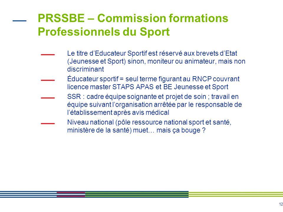 12 PRSSBE – Commission formations Professionnels du Sport Le titre d'Educateur Sportif est réservé aux brevets d'Etat (Jeunesse et Sport) sinon, monit
