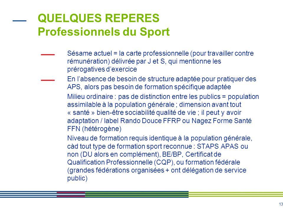 13 QUELQUES REPERES Professionnels du Sport Sésame actuel = la carte professionnelle (pour travailler contre rémunération) délivrée par J et S, qui me