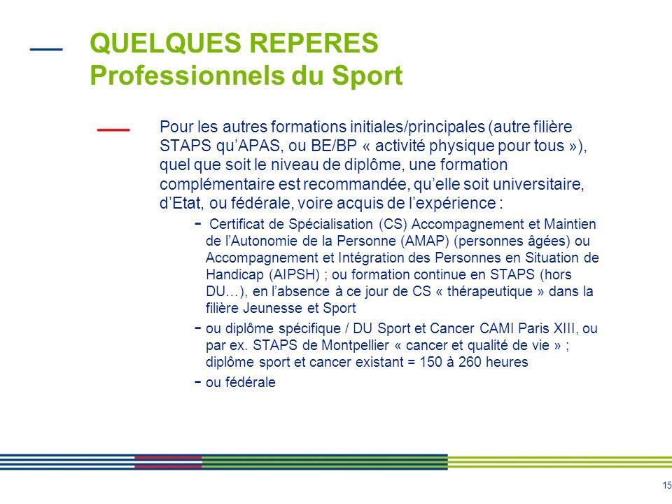 15 QUELQUES REPERES Professionnels du Sport Pour les autres formations initiales/principales (autre filière STAPS qu'APAS, ou BE/BP « activité physiqu