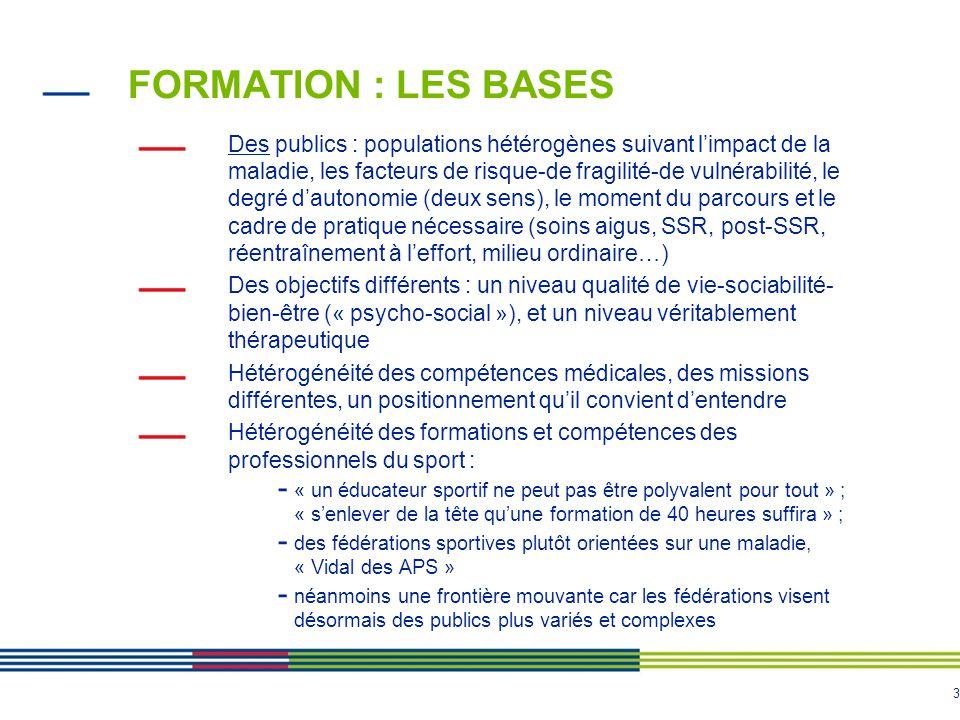 3 FORMATION : LES BASES Des publics : populations hétérogènes suivant l'impact de la maladie, les facteurs de risque-de fragilité-de vulnérabilité, le