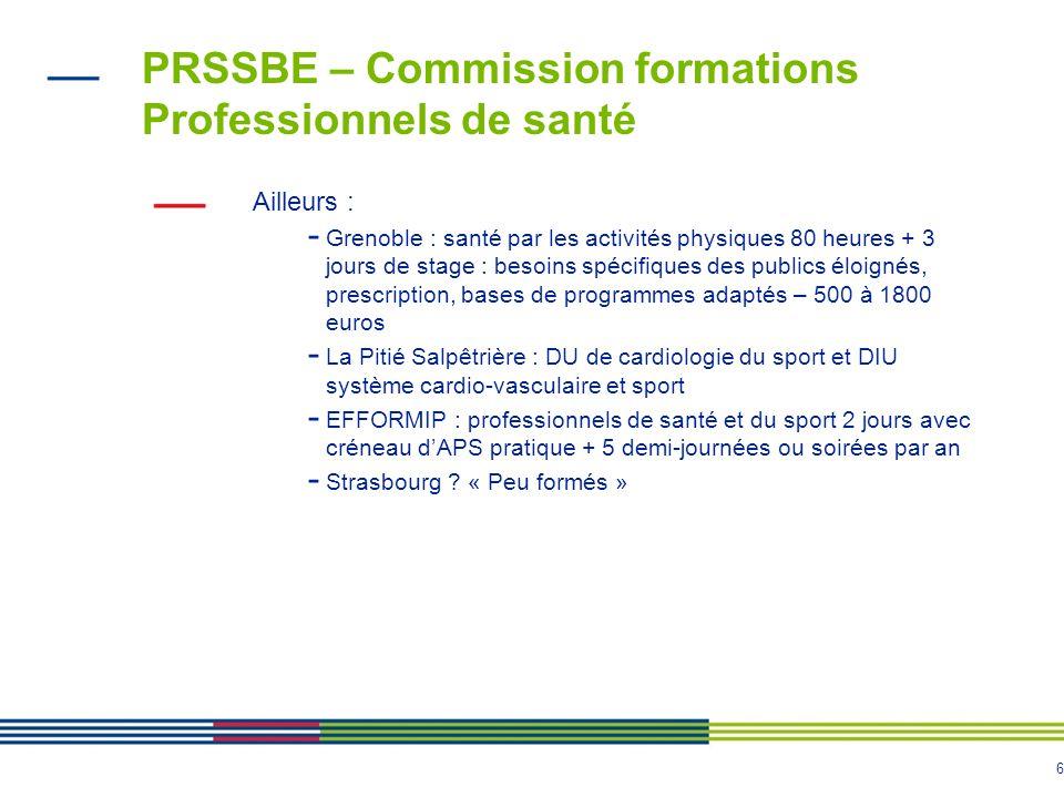 6 PRSSBE – Commission formations Professionnels de santé Ailleurs : - Grenoble : santé par les activités physiques 80 heures + 3 jours de stage : beso
