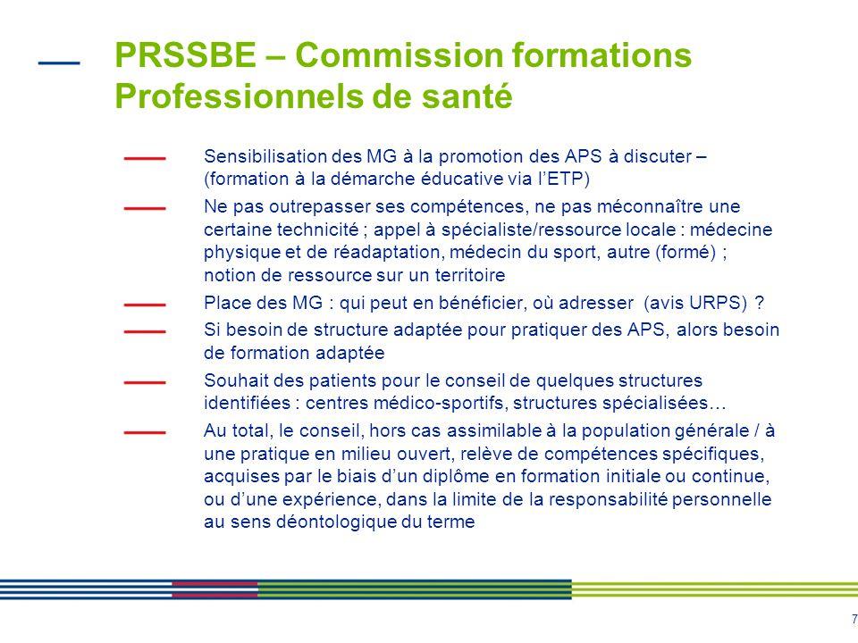 7 PRSSBE – Commission formations Professionnels de santé Sensibilisation des MG à la promotion des APS à discuter – (formation à la démarche éducative