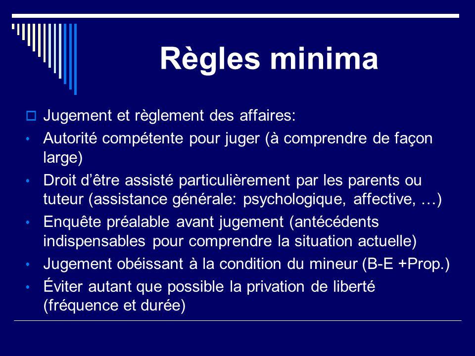Règles minima  Jugement et règlement des affaires: Autorité compétente pour juger (à comprendre de façon large) Droit d'être assisté particulièrement