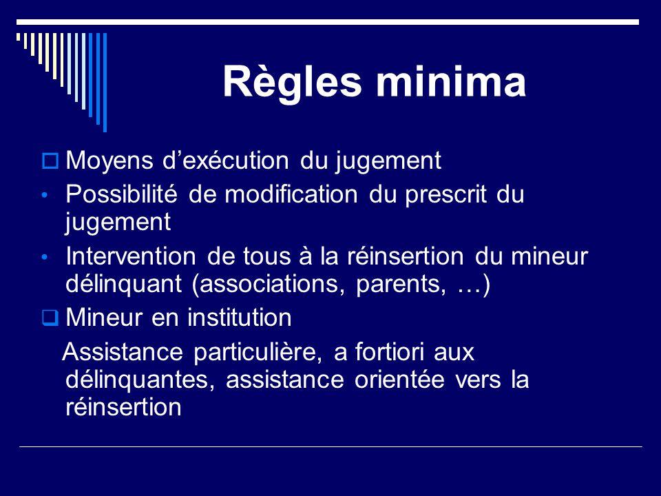 Règles minima  Moyens d'exécution du jugement Possibilité de modification du prescrit du jugement Intervention de tous à la réinsertion du mineur dél