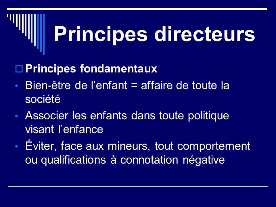 Principes directeurs  Principes fondamentaux Bien-être de l'enfant = affaire de toute la société Associer les enfants dans toute politique visant l'e