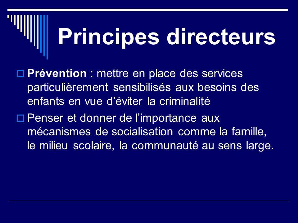 Principes directeurs  Prévention : mettre en place des services particulièrement sensibilisés aux besoins des enfants en vue d'éviter la criminalité