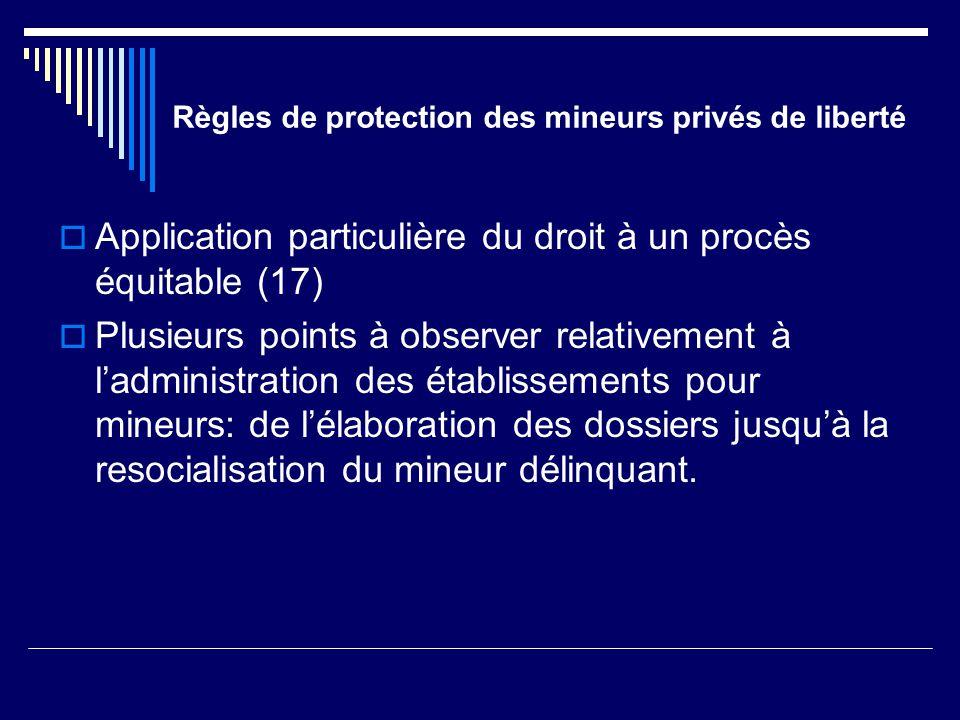Règles de protection des mineurs privés de liberté  Application particulière du droit à un procès équitable (17)  Plusieurs points à observer relati